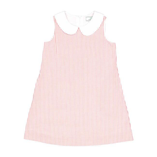 Maddie Seersucker Dress, Red/White