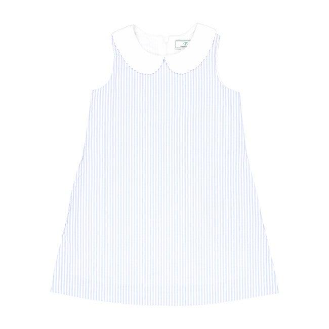 Maddie Seersucker Dress, Blue/White - Dresses - 1