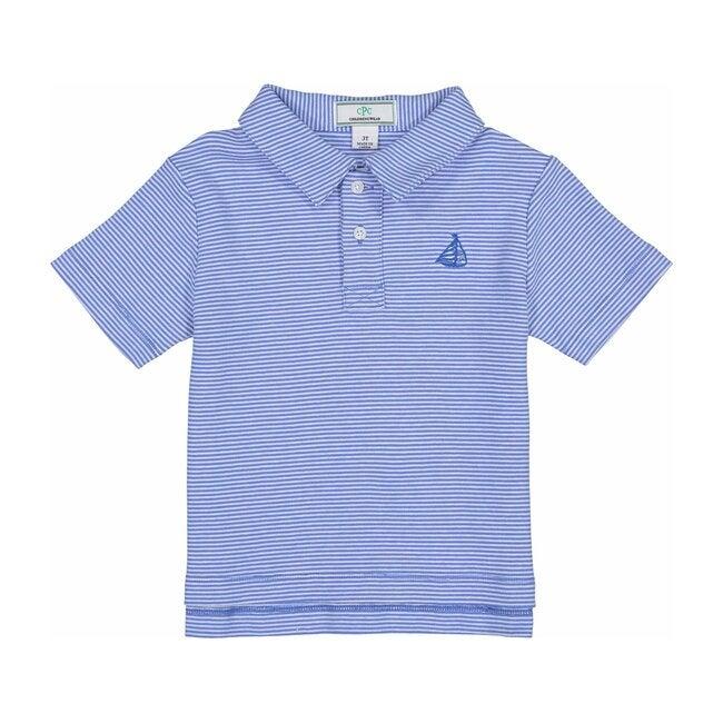 Henry Striped Polo Shirt, Ultra Marine/White - Polo Shirts - 1