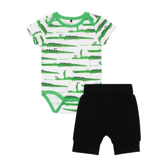 Striped Croc Bodysuit & Pant Set, Green