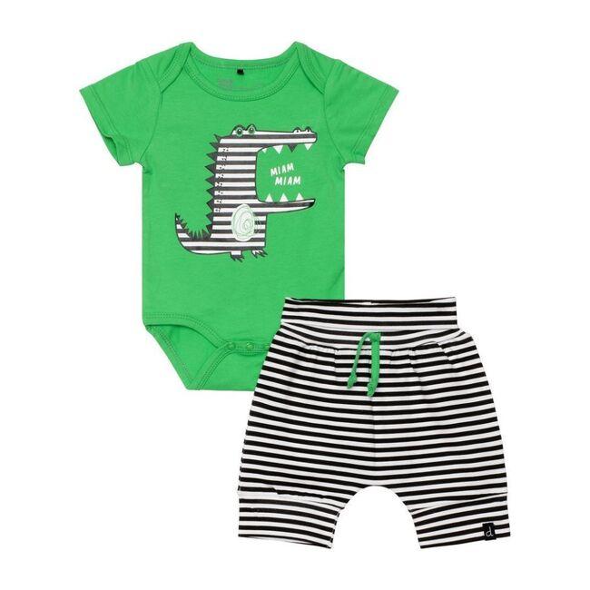 Graphic Croc Bodysuit & Pant Set, Green