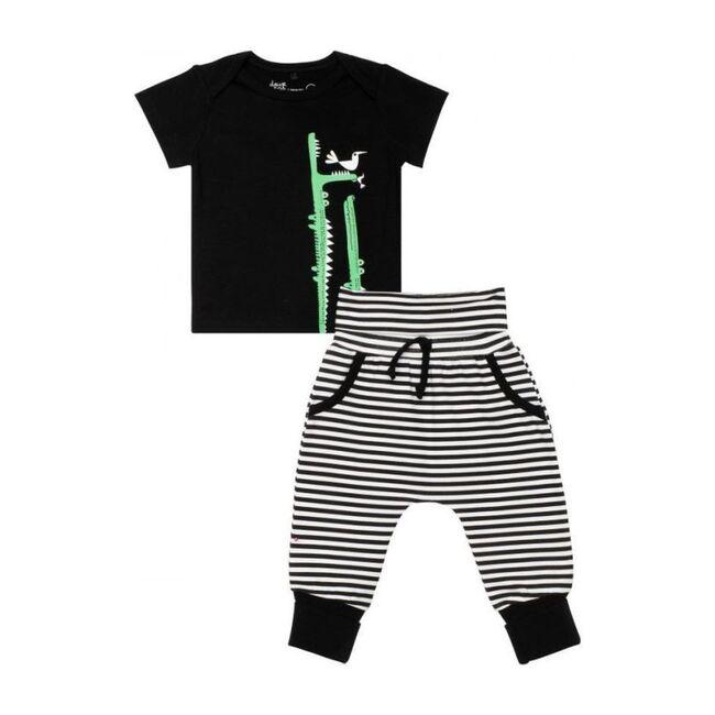 Croc Graphic Outfit Set, Black