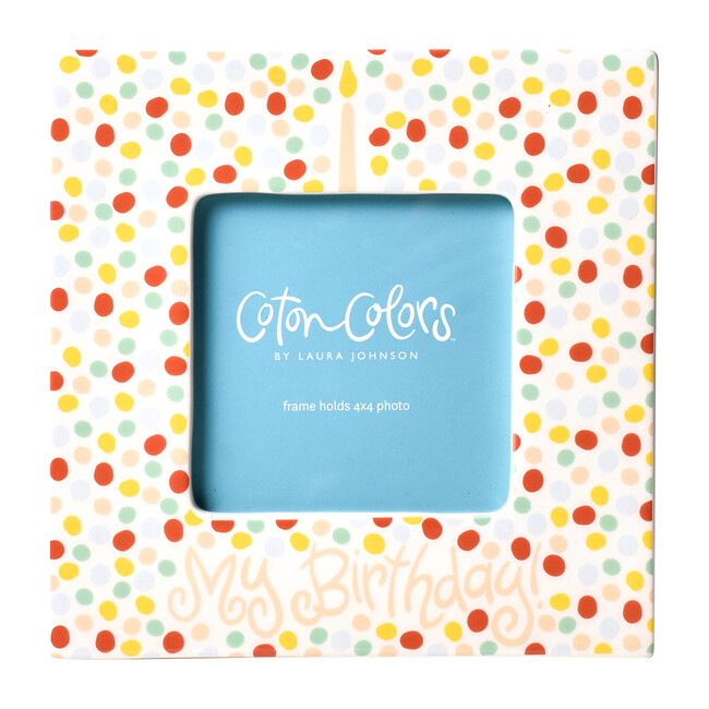 Small Dot Birthday Square Frame, Pink
