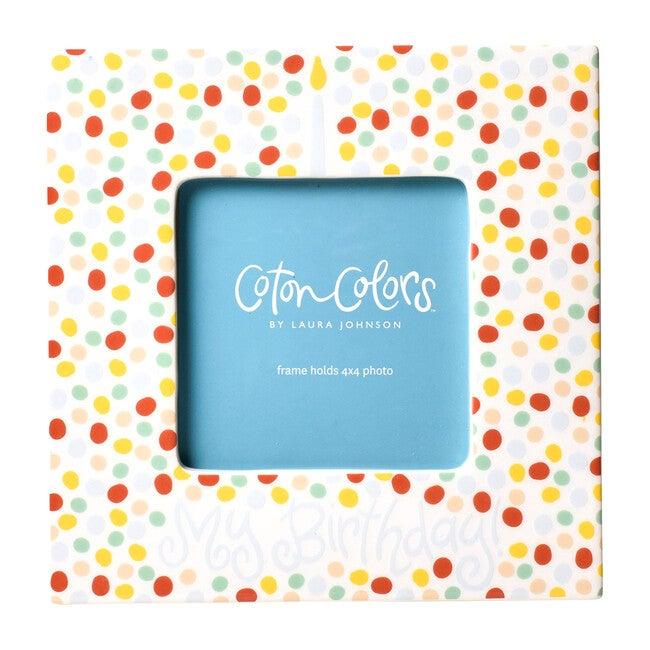 Small Dot Birthday Square Frame, Blue