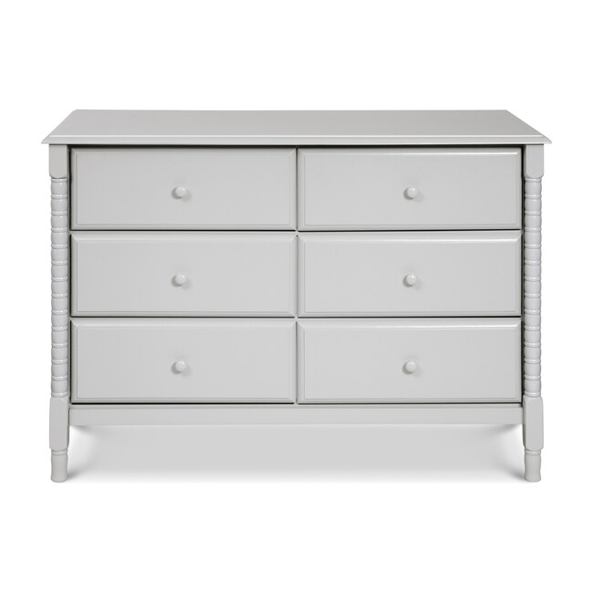 Jenny Lind Spindle 6-Drawer Dresser, Fog Grey