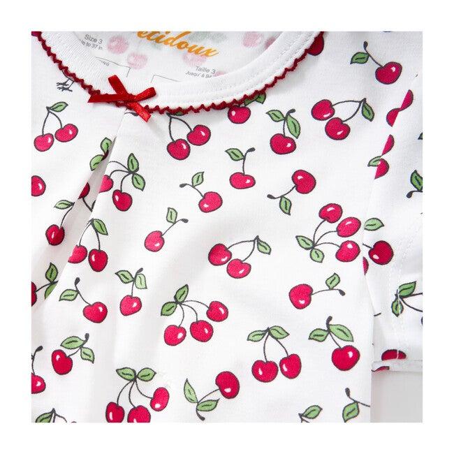 Vintage Cherries Short Sleeve Pajamas, Red