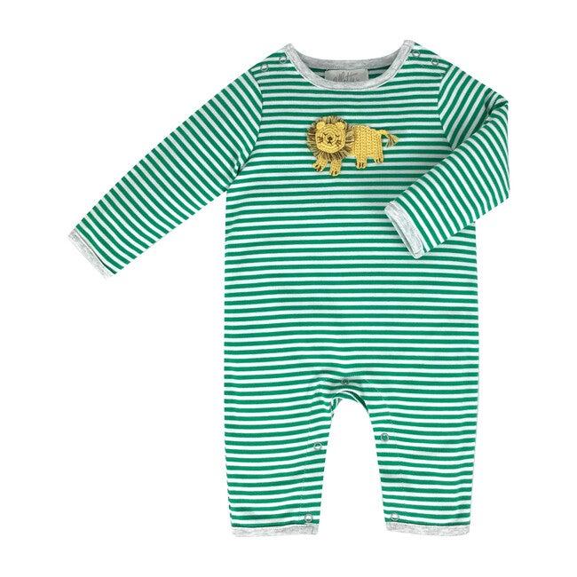 Crochet Lion Green Stripe Babygro