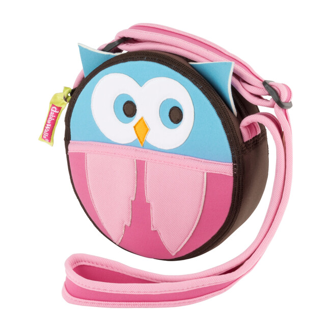 Owl Crossbody Purse, Brown and Pink