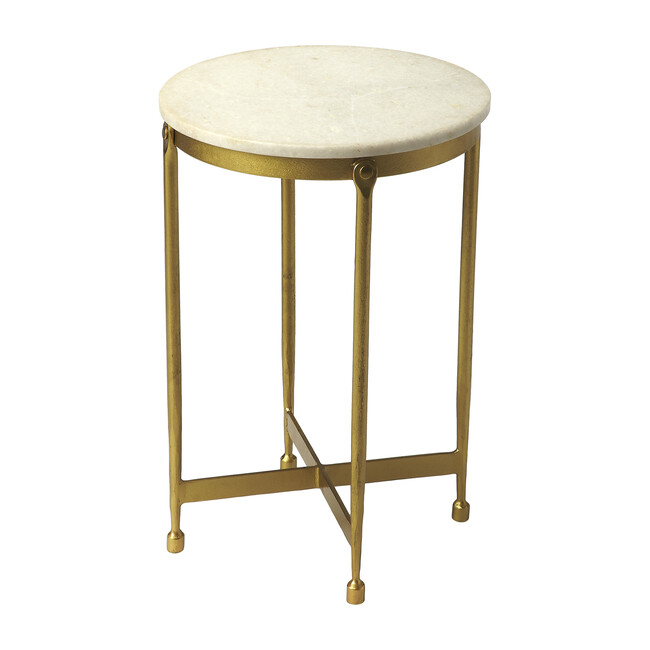 Claypool Marble Side Table, White/Gold