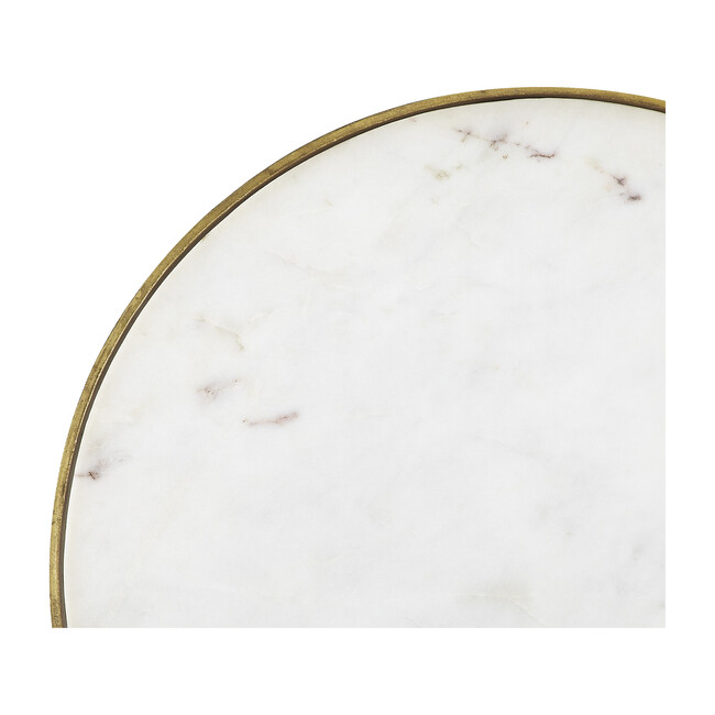 Triton Marble Accent Table, White/Gold