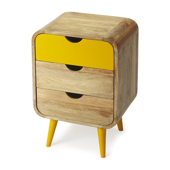 Scandi Nightstand, Yellow/Natural