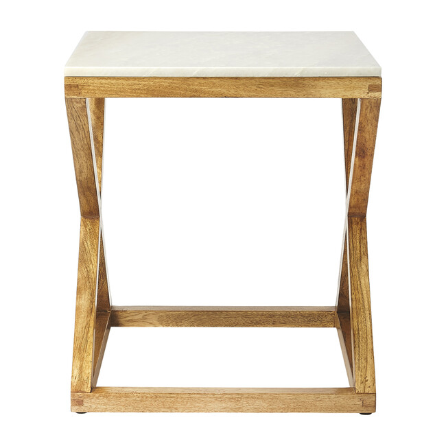 Braylon End Table, Marble/Wood