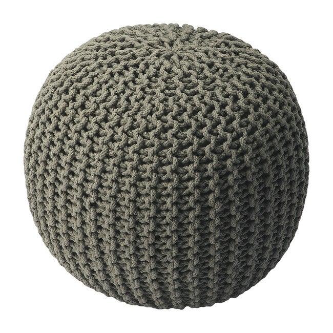 Knit Floor Pouf, Grey