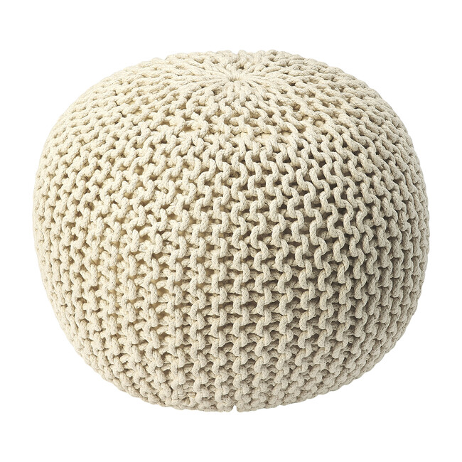 Knit Floor Pouf, Cream