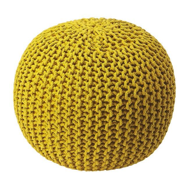 Knit Floor Pouf, Mustard