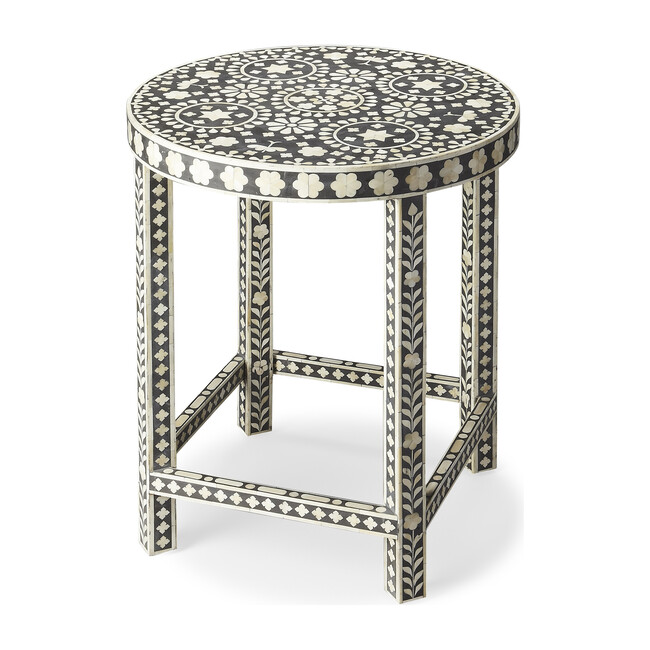 Gillian Bone Inlay Accent Table, Black