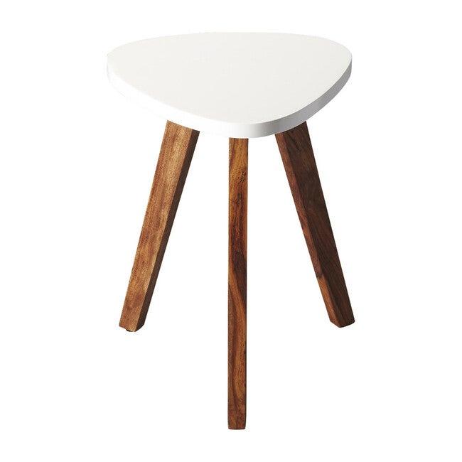 Chula Vista Acacia Side Table, White/Natural