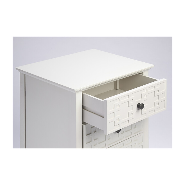 Kinsley 3-Drawer Accent Chest, Glossy White