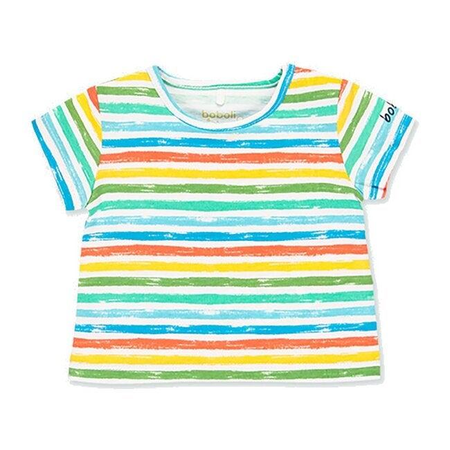 Striped Knit T-Shirt, White