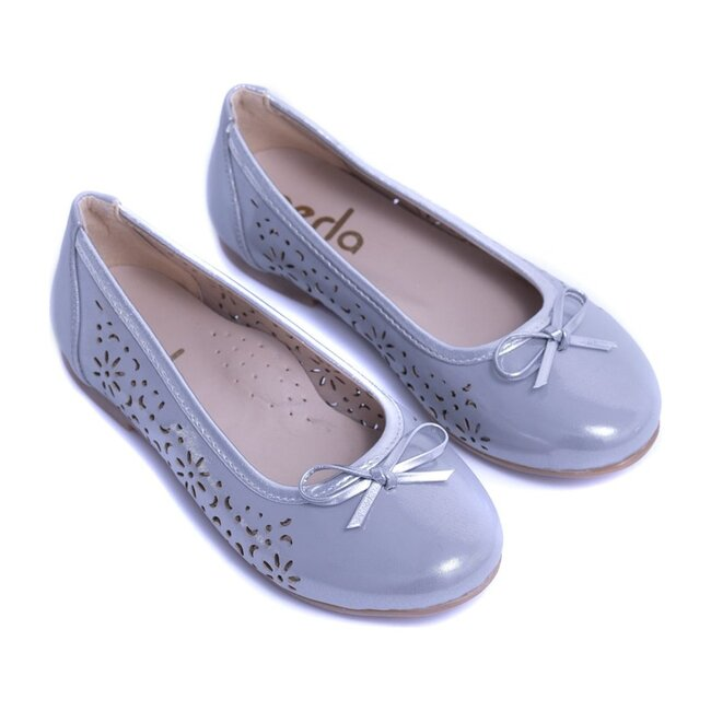 Toddler Floral Perforated Flats, Silver