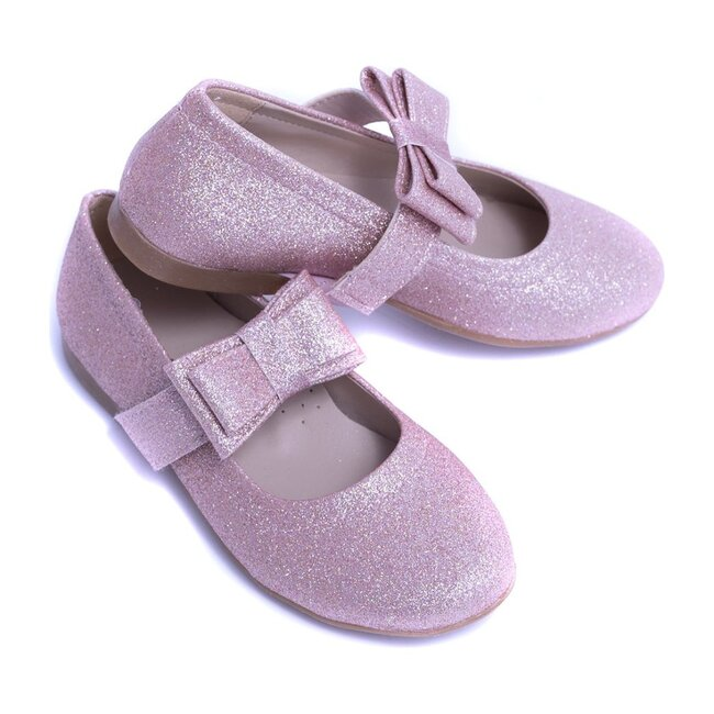 Sparkly Bow Flats, Pink