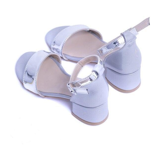 Satin Sandal Strap Heels, Silver
