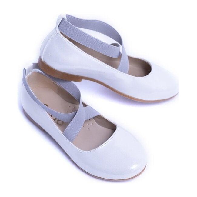 Satin Ballerina Flats, White
