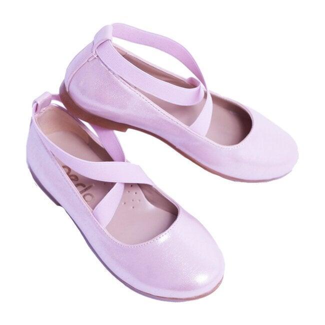 Satin Ballerina Flats, Pink - Flats - 1
