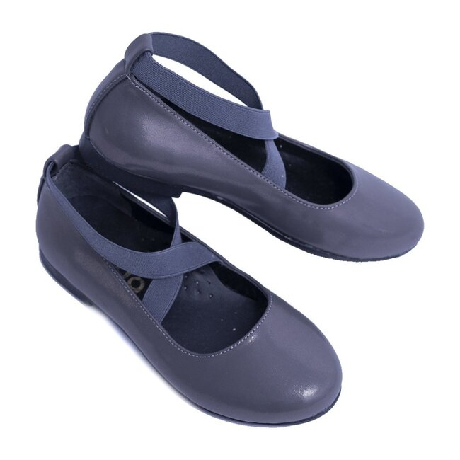Satin Ballerina Flats, Dark Gray