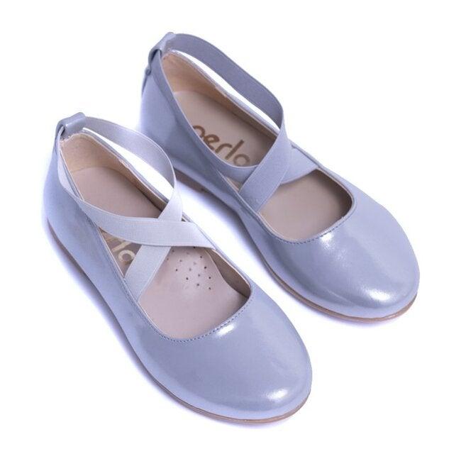 Satin Ballerina Flats, Silver