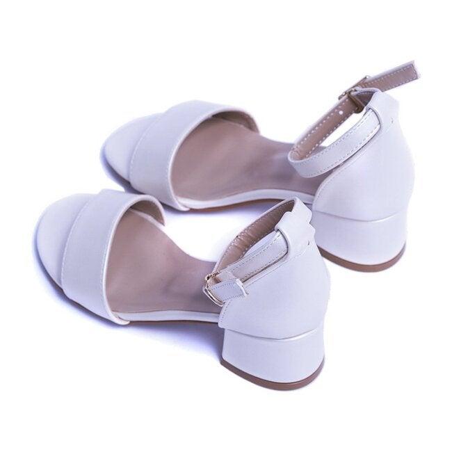 Sandal Strap Heels, Pearl White