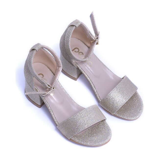 Glitter Sandal Strap Heels, Gold