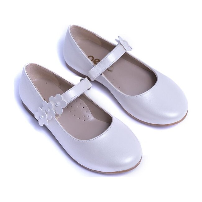 Glossy Flower Flats, Pearl White