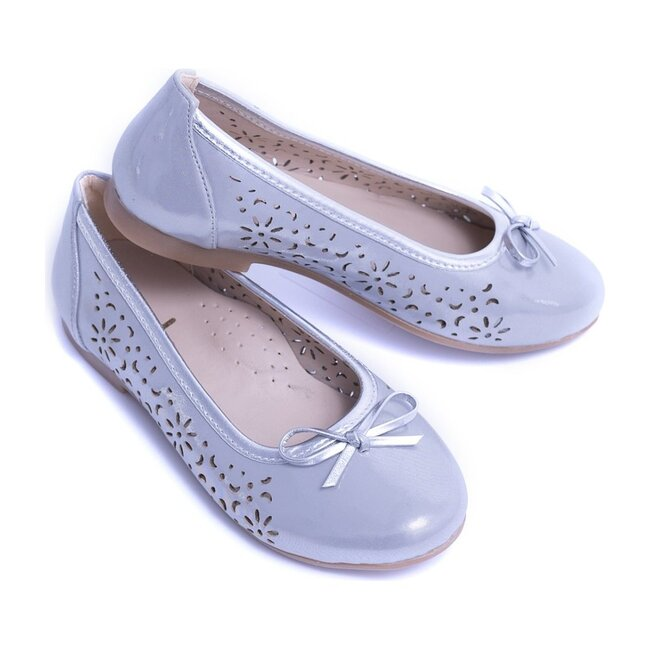 Floral Perforated Flats, Silver