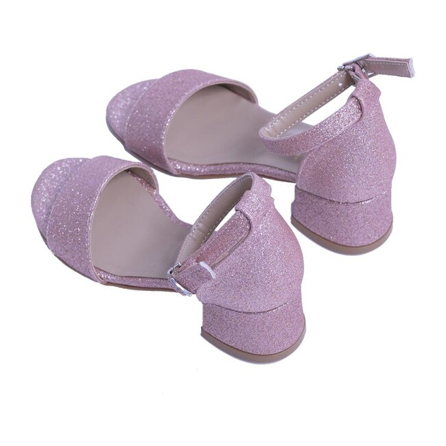 Glitter Sandal Strap Heels, Pink