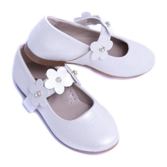 Flower Strap Flats, Pearl White