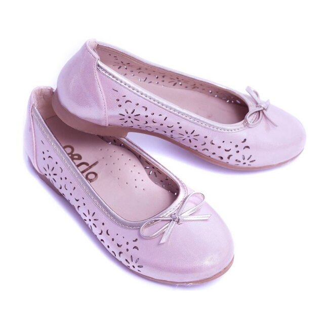 Floral Perforated Flats, Pink