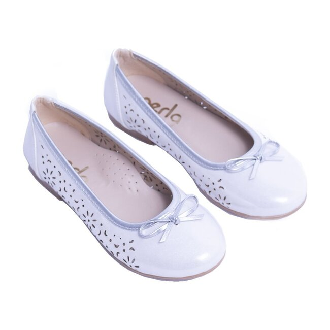 Floral Perforated Flats, White