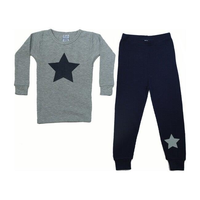 Pajama Set, Heather Grey Stars