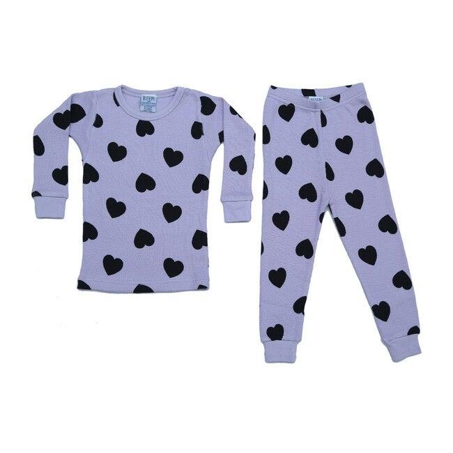 Pajama Set, Lilac & Black Hearts