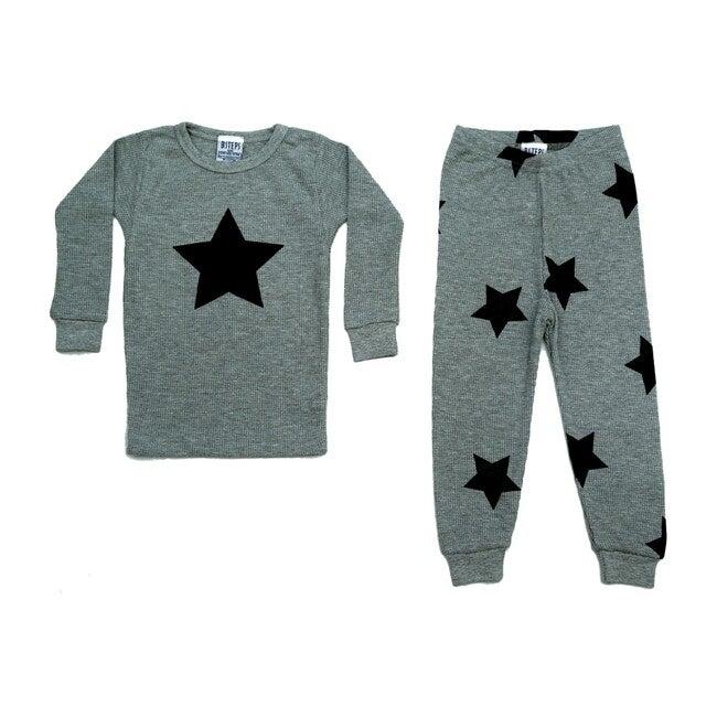 Pajama Set, Heather Grey & Black Stars