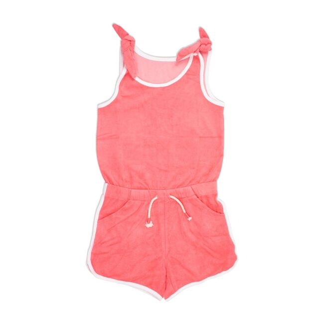 Terrycloth Romper Coverup, Coral