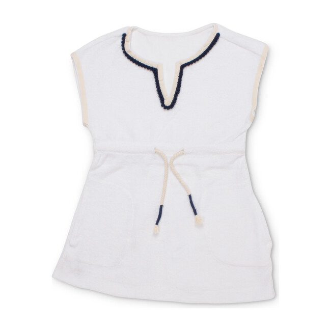 Short Sleeve Terry Coverup, White