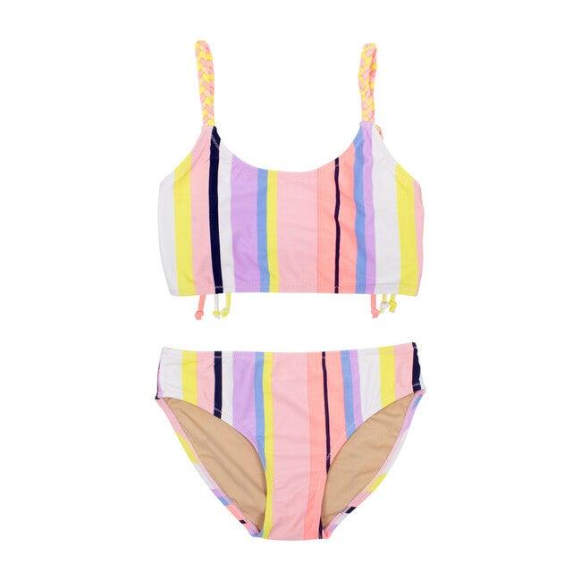 Braided Bikini, Coral Stripe