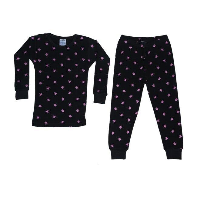 Pajama Set, Black Fuchsia Foil Stars - Pajamas - 1