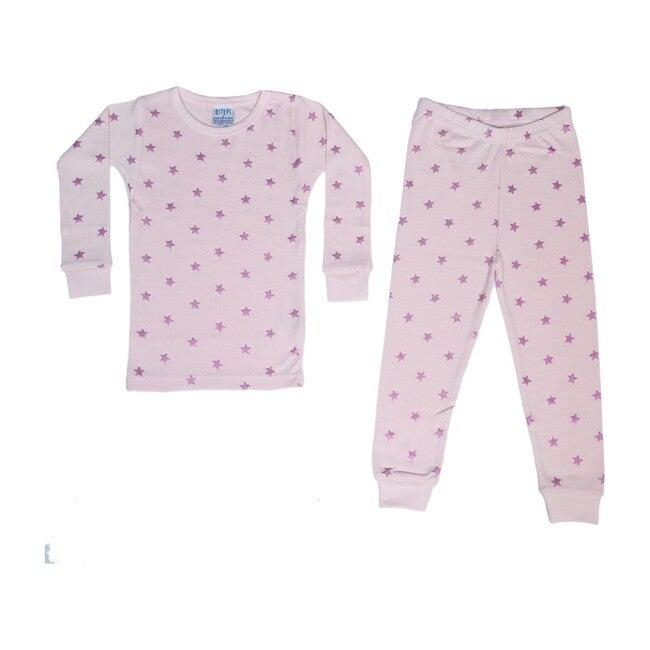 Pajama Set, Pink Fuchsia Foil Stars