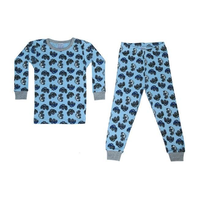 Pajama Set, Light Blue Trucks