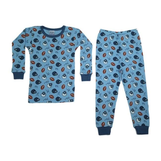 Pajama Set, Light Blue Footballs
