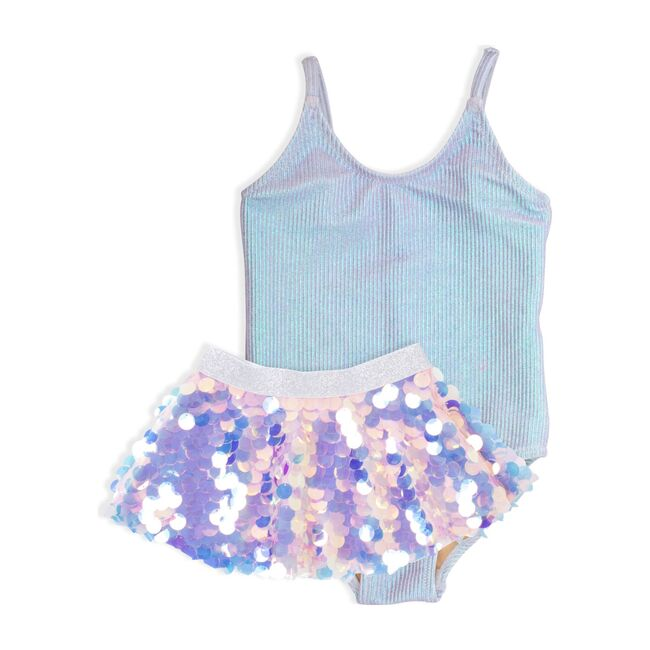 One Piece Swimsuit and Sequin Skirt, Metallic
