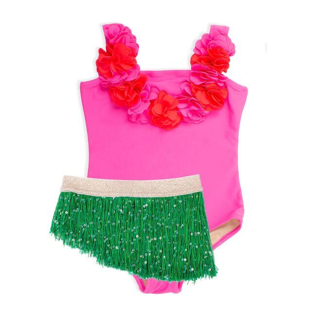 Hula Girl Fringe Tutu One Piece, Pink and Green